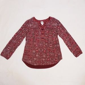 Anthropologie One September, Red Boho Top, Sz XS